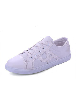 White Canvas Comfort  Shoes for Casual Athletic