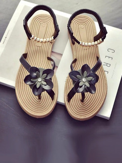 Black and Brown Leather Open Toe Ankle Strap Sandals