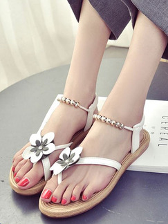 White and Brown Leather Open Toe Ankle Strap Sandals