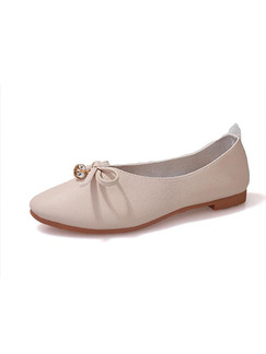 Brown Leather Pointed Toe Flats