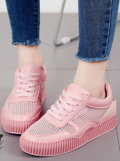 Pink Canvas Round Toe Lace Up Rubber Shoes