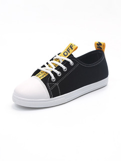 Black and White Yellow Canvas Round Toe Lace Up Rubber Shoes