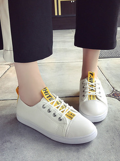 White and Yellow Canvas Round Toe Lace Up Rubber Shoes