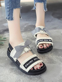 White and Black Canvas Open Toe Butterfly Sandals