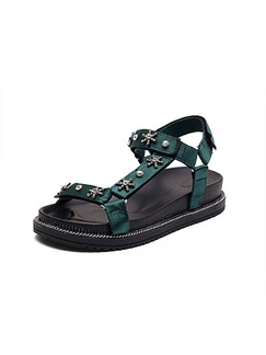 Green and Black Leather Open Toe Ankle Strap Sandals