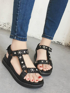 Black Leather Open Toe Ankle Strap Sandals
