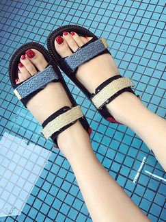 Blue Brown and Black Leather Open Toe Sandals