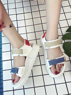 Blue Brown and White Leather Open Toe Sandals