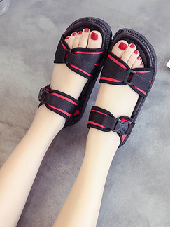 Black and Red Canvas Open Toe Sandals