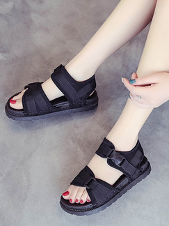 Black Canvas Open Toe Sandals