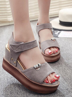 Grey and Brown Suede Open Toe Platform Ankle Strap 8.5cm Wedges