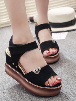 Black and Brown Suede Open Toe Platform Ankle Strap 8.5cm Wedges