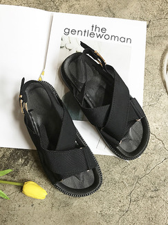 Black Canvas Open Toe Ankle Strap Sandals
