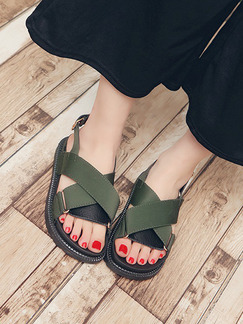 Green Canvas Open Toe Ankle Strap Sandals