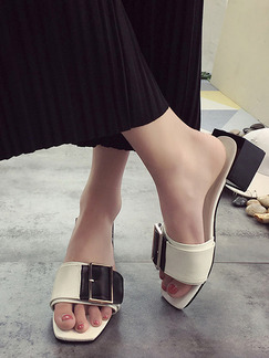 Black and White Leather Open Toe Chunky Heel 4.5cm Heels