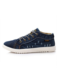 Blue and White Canvas Comfort  Shoes for Casual