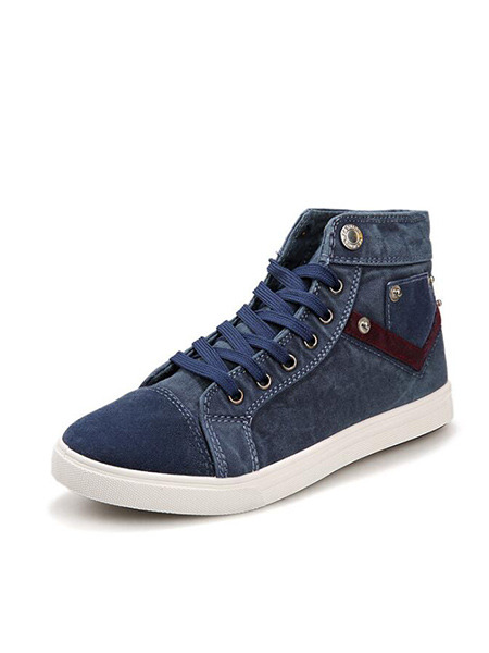 Blue and White Canvas Comfort High Tops  Shoes for Casual