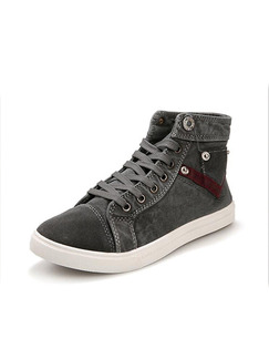 Black and White Canvas Comfort High Tops Shoes for Casual
