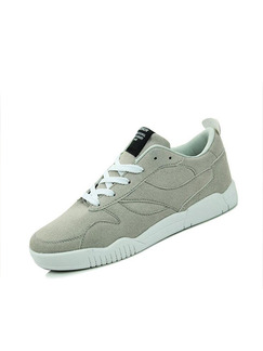 Grey and White Leather Comfort  Shoes for Casual Athletic