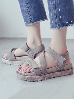 Brown and Beige Leather Open Toe Platform Ankle Strap 4.5cm Sandals