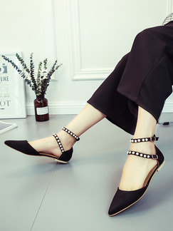 Black Suede Pointed Toe Ankle Strap 1 cm Flats