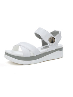 White and Grey Leather Open Toe Ankle Strap 5CM Sandals