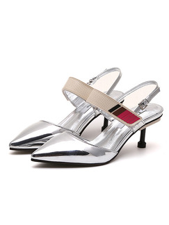 Silver Leather Pointed Toe High Heel Stiletto Heel Ankle Strap 6cm Heels