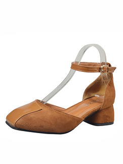 Apricot Leather Round Toe High Heel Chunky Heel Ankle Strap 5.5cm Heels