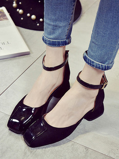 Black Leather Round Toe High Heel Chunky Heel Ankle Strap 5.5cm Heels