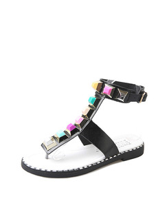 Black Colorful Leather Open Toe Ankle Strap 2cm Sandals
