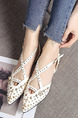 White and Gold Leather Pointed Toe Flats