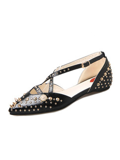 Black and Gold Leather Pointed Toe Flats