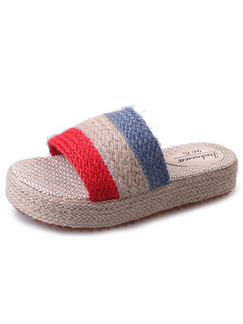 Beige Red and Blue linen Open Toe Platform 4cm Sandals