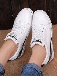 Black and White Leather Round Toe Lace Up 7cm Wedges Rubber Shoes