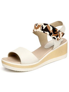 Beige and White Leather Open Toe Platform Ankle Strap 6cm Wedges