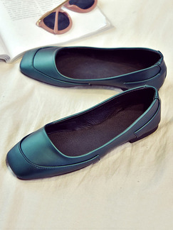 Blue Green Leather Round Toe Flats