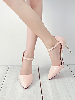 Pink Leather Pointed Toe High Heel Stiletto Heel  9.5cm Heels