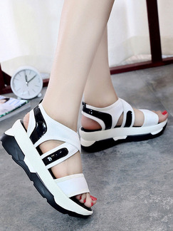 Black and White Canvas Open Toe Ankle Strap 5cm Sandals