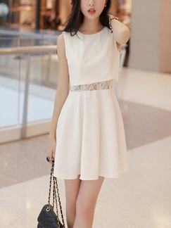 White Lace Above Knee Fit & Flare Dress for Casual Party Office