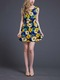 Yellow Colorful Cute Floral Above Knee Fit  Flare Dress for Casual Beach Special Offer