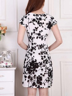 Black and White Above Knee Sheath Plus Size Dress for Casual Beach