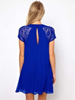 Blue Above Knee Plus Size Shift Lace Dress for Casual Party