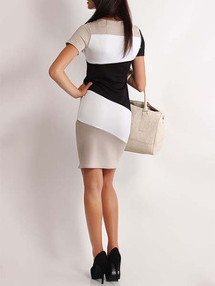 Black and White Beige Bodycon Above Knee Plus Size Dress for Casual Office Evening