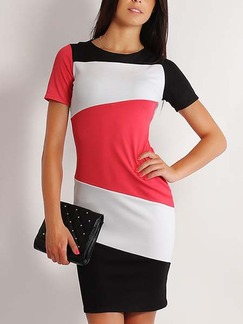 Red and White Black Bodycon Above Knee Plus Size Dress for Casual Office Evening