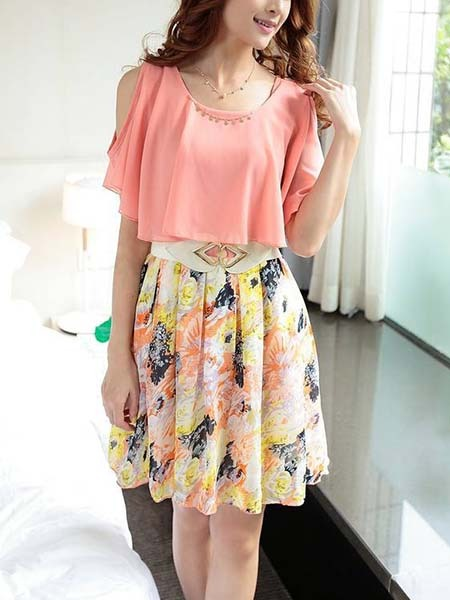 Pink and Colorful Off Shoulder Short to Mini Korean Dress ...