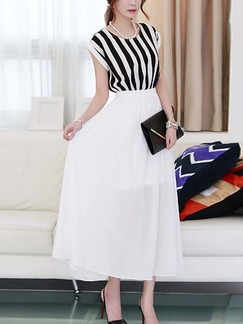 85e1a8fd00c0 Black and White Chiffon Maxi Korean Dress for Casual Summer Semi Formal  Evening