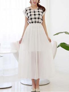 7da83a1b610f Black and White Chiffon Maxi Korean Dress for Casual Summer Semi Formal  Evening