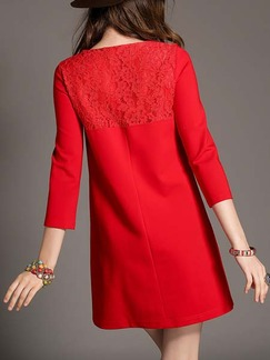 Red Shift Above Knee Dress for Casual Evening
