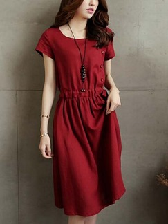 Red Knee Length Plus Size Shift Dress for Casual