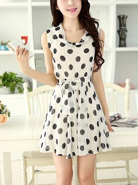 Black and White Chiffon Mini Short Korean Dress for Casual ...